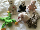 TY Beanies Plush; Sonnet Dog, Smoochy Frog, Freckles Leopard; Baby Girl;Lot Of 6