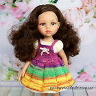 Handmade Outfit for 13 inch Paola Reina Doll Knitted blue dress and pinafore