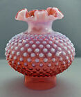 Fenton Glass Pink Cranberry Opalescent Hobnail Ruffled Top Lamp Shade