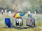 Large ORIGINAL new signed watercolour ART PAINTING of a village cricket scene