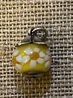 JAMES AVERY Sterling Silver BLOSSOM FINIAL W YELLOW Art Glass Charm 635 RETIRED