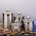 Beautiful Canister Set for Kitchen 4 Piece Stainless Steel w Airtight Glass Lids