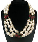 Helga Wagner Vintage Necklace Faux Pearl Glass Triple Strand