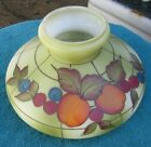 Antique Painted Lime Green Glass w Colorful Fruit Lamp Light Shade Globe Part x5