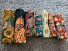 Huge Lot Fall Halloween Fabric Cotton Variety Prints 7 pieces Crafts Sewing NEW