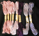 X 8 JL Walsh Hand Dyed Floss 100 Silk 223 with 1 triplicate Pinks  Lavenders