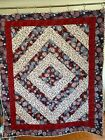 New Homemade Patriotic Quilt Lap Throw Wall Hanging Crib Recliner 44 x 53