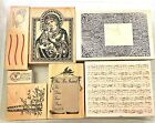 Mixed Rubber Stamp Mounted Madonna Floral Frame Music Invitation Trees New Used