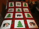 NEW PRETTY APPLIQUED CHRISTMAS BEAR IN THE WOODS QUILT TOP