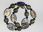 Gold Foil and Blue Czech and Murano Glass Necklace