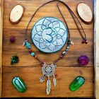 Bohemian Ocean Necklace Beads Silver Yoga Turquoise Turtle Sri Yantra Feather