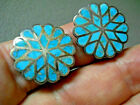 Old Native American Turquoise Channel Inlay Sterling Silver Flower Clip Earrings