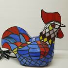 Chicken Rooster Stained Glass Lamp Night Light Tiffany Style Country Vibrant