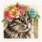 LanArte Counted Cross Stitch Kit Flower Crown Maine Coon 116X116 New