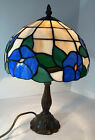 Beautiful Tiffany Style Lamp In Blue And White Floral Stain glass  See Desc