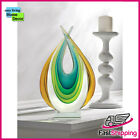 Cool Green Gold and Blue ART GLASS STATUE 11 1 4 HIGH