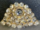 Hobe Signed Cabochan Clear Glass Antiqued Goldtone Large Brooch Must See
