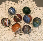 Hand Blown Art Glass Swirl Marbles Egg Shaped 1 1 4 with Pontils Lot Of 8