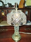 Vintage Crystal Cut Glass Small Table Lamp with Matching Shade 12