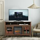 Wood Fireplace TV Stand Console Entertainment Center for TVs up to 65 Rustic