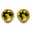 Natural Citrine Faceted Cut Round Shape 18K Gold Plated Gemstone Yellow Earrings