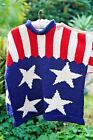 Stars And Stripes Handknit pure wool jumper from Equador One Size