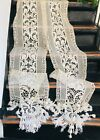 STUNNING VICTORIAN FRENCH EMROIDERY  CROCHET CURTAIN PANELS  FRINGES TASSELS