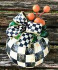 MY OWN Hand Painted Courtly Art Glass Mini Pumpkin MacKenzie Childs Ribbon Bow