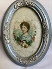 Antique Glass Reverse Painted Woman Framed Painted in 1873 Famed in 1923 2C