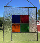 Stained Glass Panel w Red Blue Orange Green Glass
