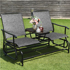 Patio 2 Person Glider Rocking Char Loveseat Garden w Tempered Glass Table