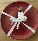 Akcam 11 DINNER Plates Set of 4 Turkish Glass Red Glitter Holiday Christmas NEW