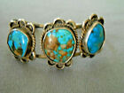 Southwestern Native American 3 Stone Turquoise Sterling Silver Cuff Bracelet