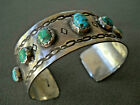 Old Handmade Native American Turquoise Row Sterling Silver Etched Cuff Bracelet