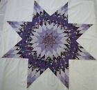 Lone Star Patchwork Quilt Top Purple Floral PIECED Medallion Wall 64Sq USA