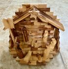 Hand Carved Olive Wood Nativity Scene With Faceless Figures Made In Bethlehem