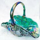 Vintage LE Smith Glass Quintec Teal Green Carnival Glass Basket with Handle 11
