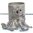 ANTIQUE JAMES W TUFTS SILVER PLATE DOG GLASS EYES TOOTHPICK HOLDER 2684