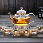 Corelife Tea Pot Set 6x Double Wall Glass cups Teapot with Infuser coffee Warmer