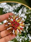 Vintage Signed JOMAZ MAZER Vintage Brooch Red Glass Clear Crystal Gold Tone Pin