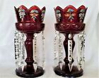 Pair Large Antique Bohemian Ruby Red Art Glass Lusters w Prisms
