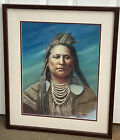 Original Pastel Painting Crow Native American Indian 2003 Signed Jane Marquez