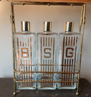 Vintage Mid Century Retro Gin Bourbon Scotch Glass Decanter Set with Carrier