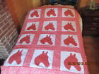 NEW VERY PRETTY APPLIQUED HORSE QUILT TOP