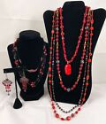 Vintage Deco Ruby Red Glass Necklaces Huge Lot Venetian Murano  Crystal