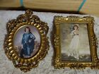 Set lot 2 frames made in Italy gilt gold rococo bubble glass vintage farmhouse