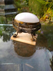 19th c French Palais Royale opaline glass egg with ormolu nest on alabaster base