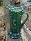 Fenton Art Glass Spruce Green Carnival 11 Water Pitcher W Florals Ruffled Top
