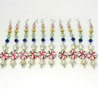 Lot of 10 Vintage Mercury Glass Icicle Ornaments Garland Strands 6 1 2 Long