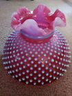 Rare Vintage Fenton Pink Cranberry Hobnail Opalescent Glass Ruffled Lamp Shade